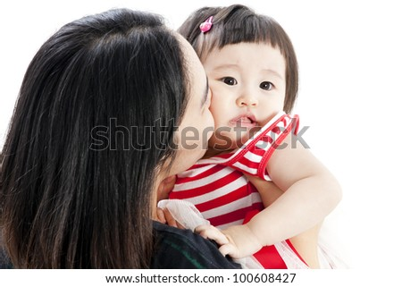 Mother holding sweet baby girl