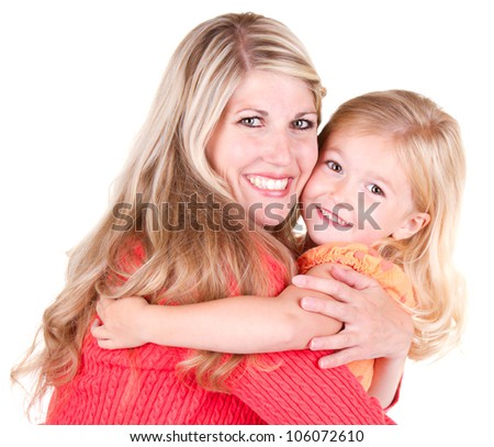 Mother hugging young daughter, isolated on white - stock photo