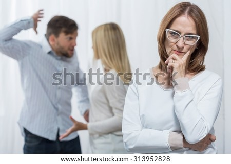 Mother-in-law is a cause of violent quarrel - stock photo