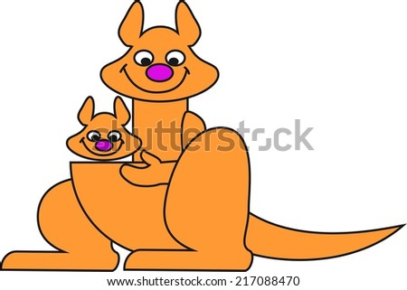 Mother kangaroo and her baby in a bag - stock photo