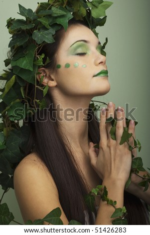 Mother nature praying for the earth saving - stock photo