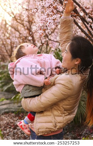 Mother Playing with her Infant Daughter amongst the Flowers