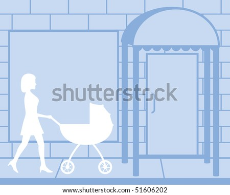 Mother Pushing Baby Carriage Silhouette Illustration - stock photo