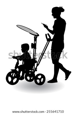 Mother rolls the baby in the stroller for a walk  - stock photo