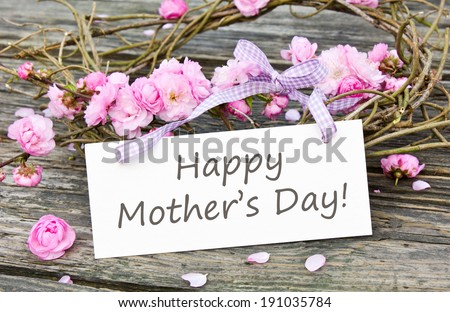 Mother`s day card with Pink blossoms/Happy Mother`s Day/english - stock photo