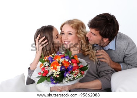 Mother's day celebration in family - stock photo
