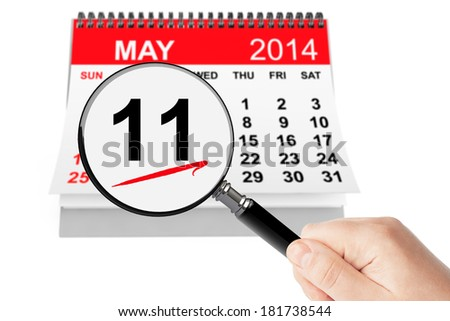 Mother's Day Concept. 11 may 2014 calendar with magnifier on a white background - stock photo