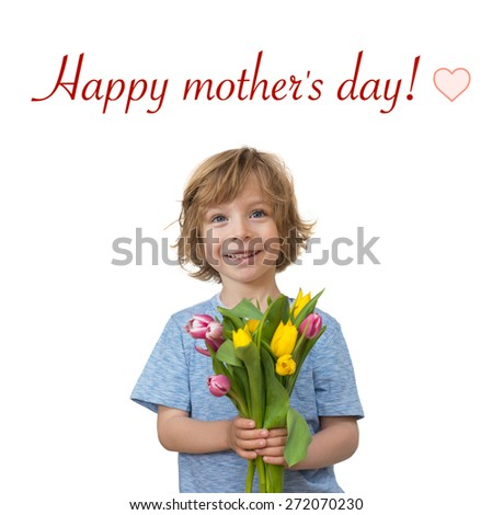 Mother's day greetings: little boy holding a tulips bouquet isolated on white background - stock photo