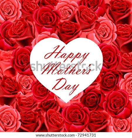 Mother's Day heart shaped card on a background of red roses