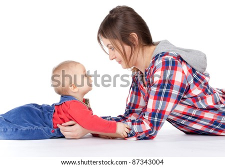 mother's love -  cute baby 7  month boy with mother - stock photo