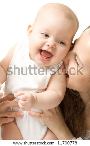 Mother's love. Cute baby with mother.