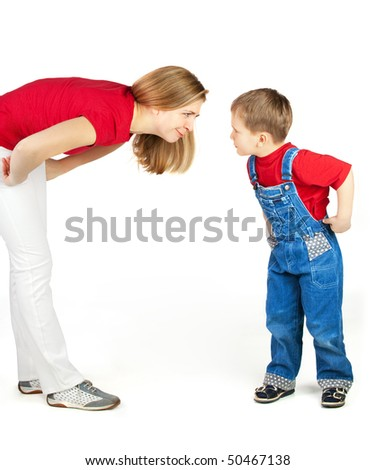 Mother scold her son with humor - stock photo