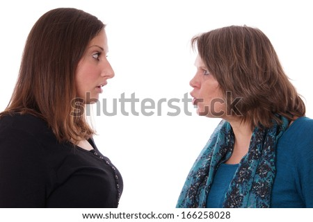 mother shouting at daughter - stock photo