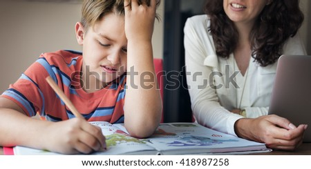 Mother Son Care Communication Homework Concept - stock photo