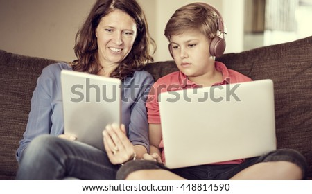 Mother Son Casual Bonding Activity Studying Concept