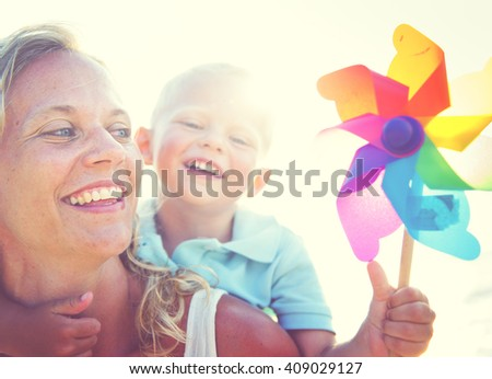 Mother Son Fun Relaxation Family Bonding Concept