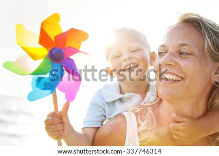Mother Son Happiness Beach Summer Concept - stock photo