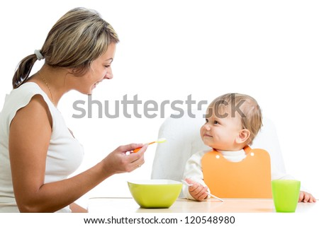 mother spoon-feeding her baby girl - stock photo