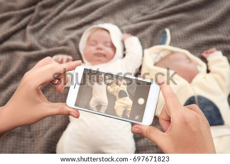 Mother Taking Photo Cute Babies Sleeping Stock Photo Royalty Free