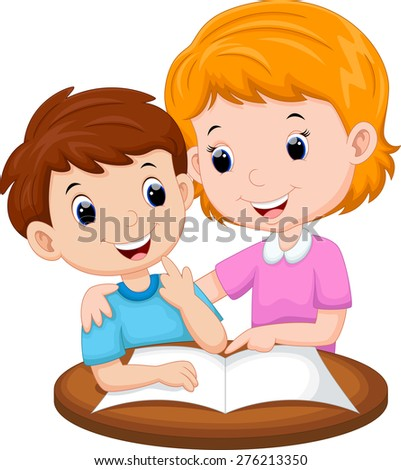 Mother teaching her child - stock photo