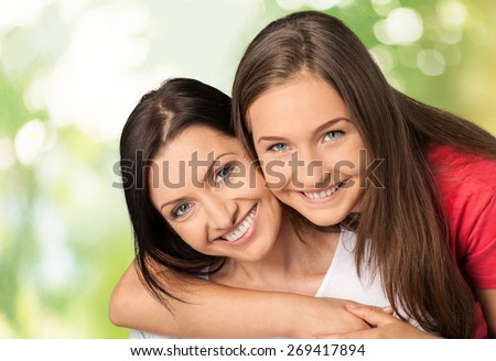 Mother, Teenager, Daughter. - stock photo