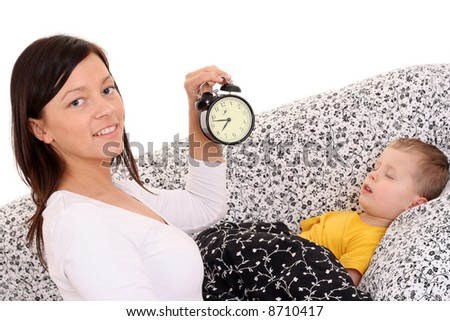 mother trying to wake up 4 years old boy