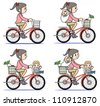 Mother who rides a bicycle-set - stock vector