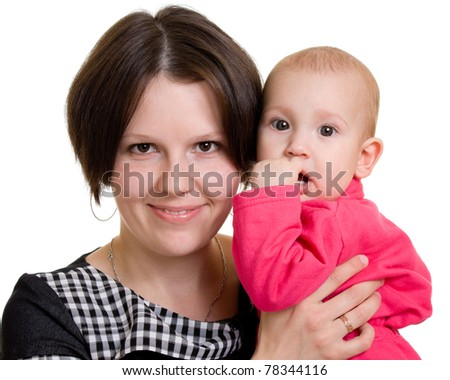 Mother with a baby on a white background