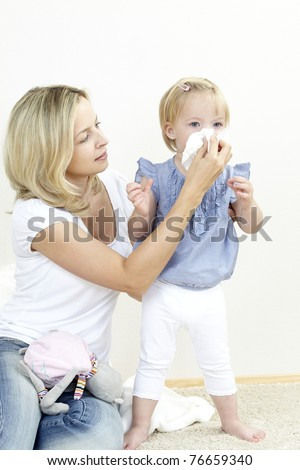 mother with a sniffing daughter