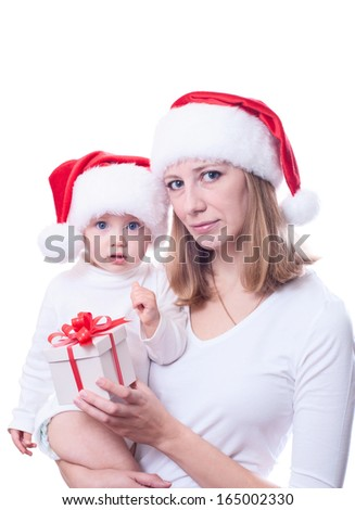Mother with baby. Christmas photo. Isolated on white background.