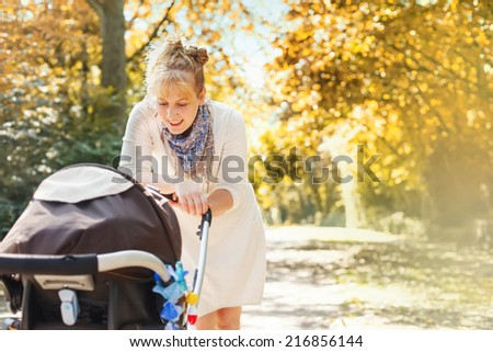 mother with carriage - stock photo