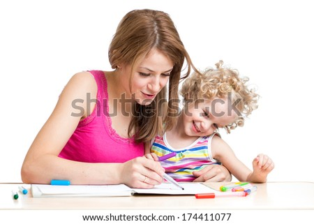 Mother with child draw and paint