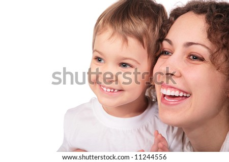 mother with child isolated on white
