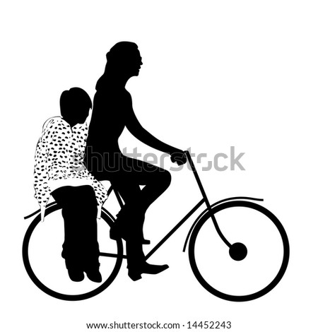 mother with child riding bicycle silhouette - stock photo