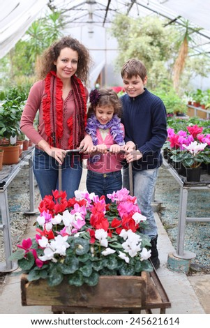 Mother with daughter and son driven cart with beauty flower in the greenhouse - stock photo
