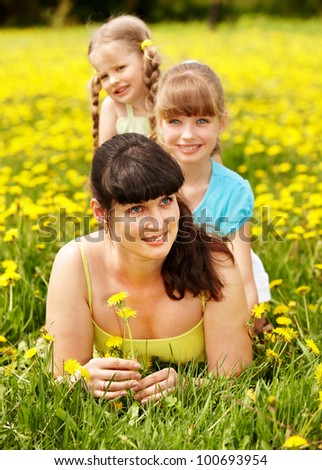 Mother with daughter in outdoor. Happy family.