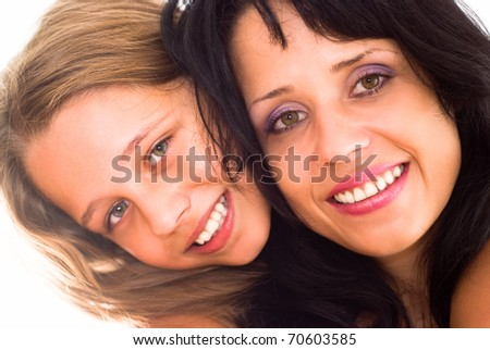 mother with daughter on a white