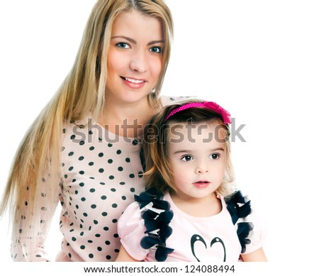Mother with daughter on white background - stock photo