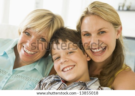 Mother with grown up daughter and son - stock photo