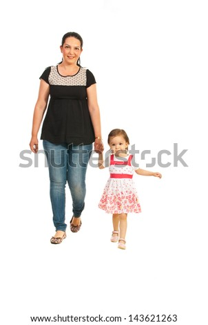 Mother with her daughter walking together isolated on white background