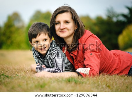 Mother with her son - stock photo