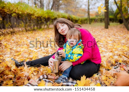 mother with her son in a park on a picnic - stock photo