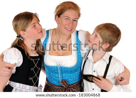 Mother with her two children - stock photo