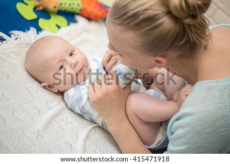 Mother with infant boy