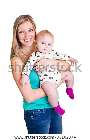 Mother with infant girl isolated on white