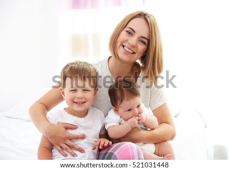 Mother with kids at home
