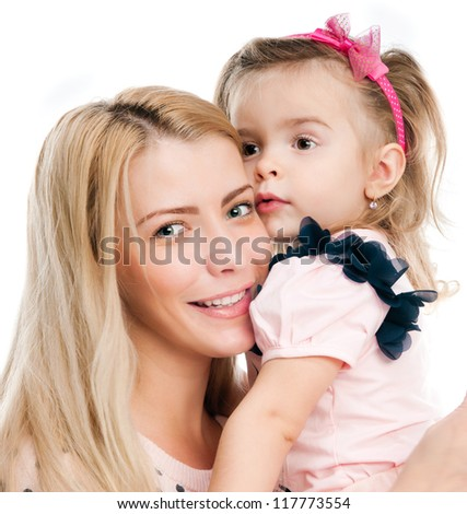 Mother with little daughter on white background - stock photo
