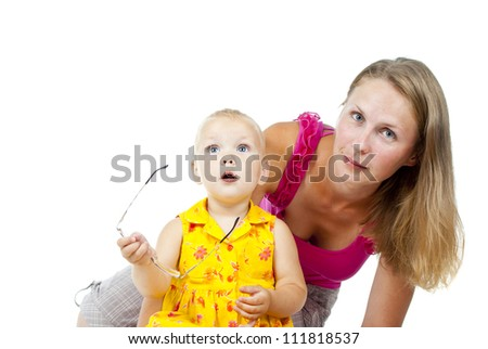 mother with small child on a white background