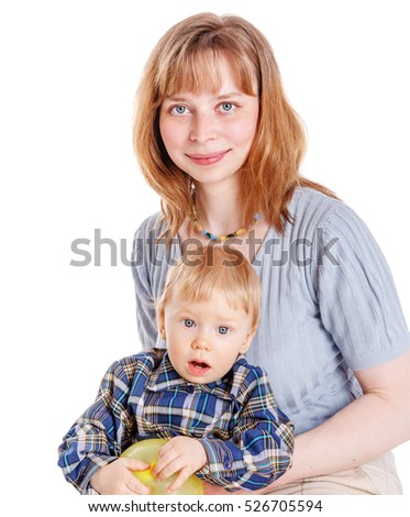 Mother with son calm smiling isolated on white