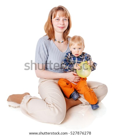 Mother with son posing isolated on white